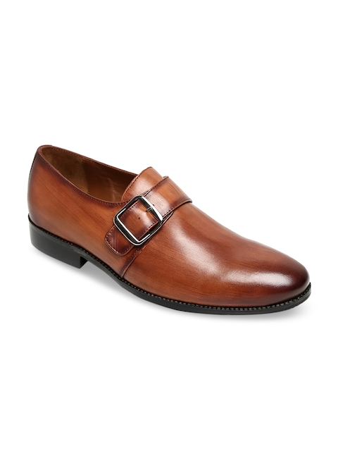 BRUNE Men Tan Brown Genuine Leather Monks
