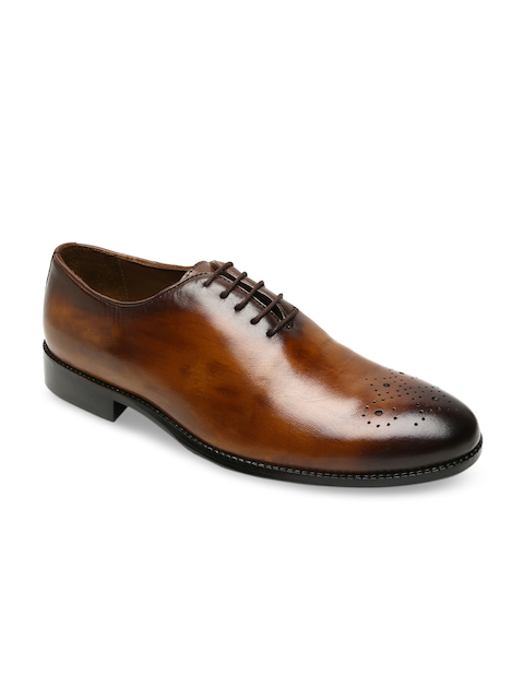 BRUNE Men Tan Brown Leather Formal Shoes