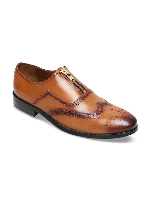 BRUNE Men Tan Brown Genuine Leather Brogues