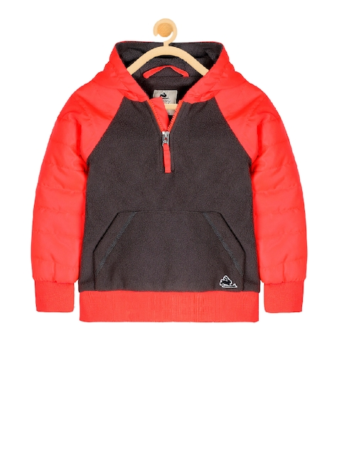 Cherry Crumble Unisex Red Colourblocked Open Front Jacket