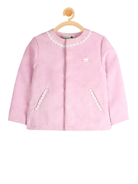 Cherry Crumble Girls Pink Solid Open Front Jacket