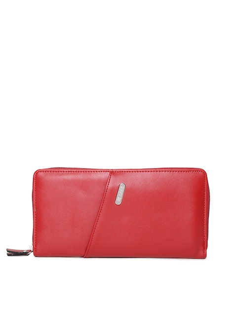 Lavie Women Red Solid Zip Around Wallet