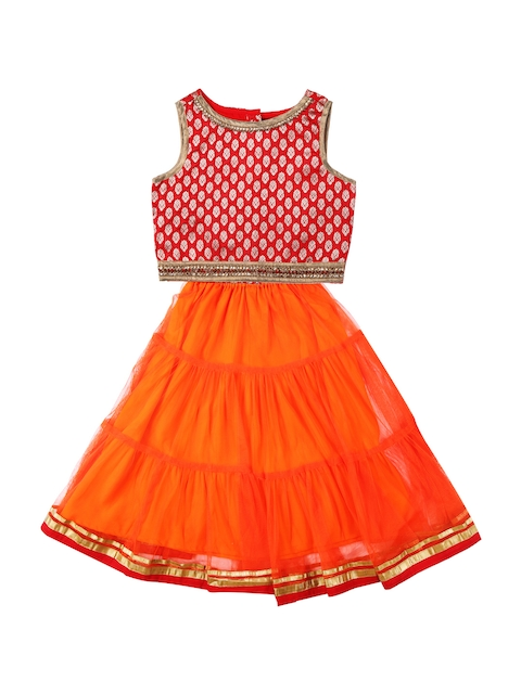 Twisha Girls Orange & Red Lehenga Choli Set