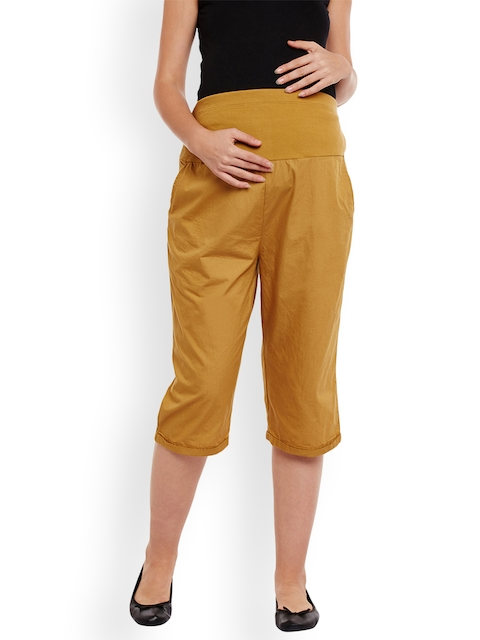 Oxolloxo Women Mustard Yellow Comfort Regular Fit Solid Maternity Culottes