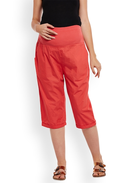 Oxolloxo Women Red Comfort Regular Fit Solid Maternity Culottes