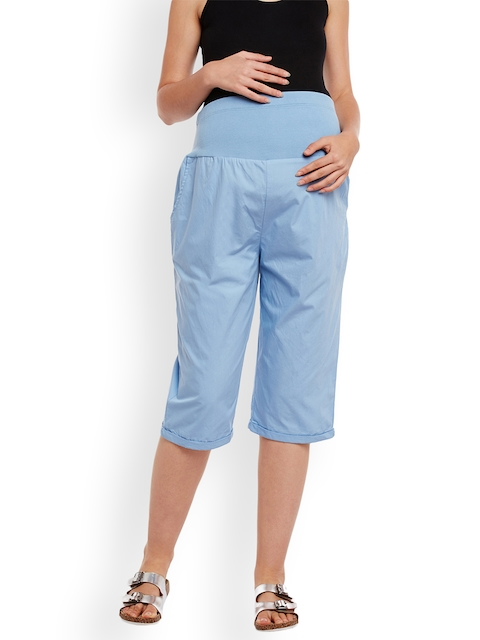 Oxolloxo Women Blue Comfort Regular Fit Solid Maternity Culottes