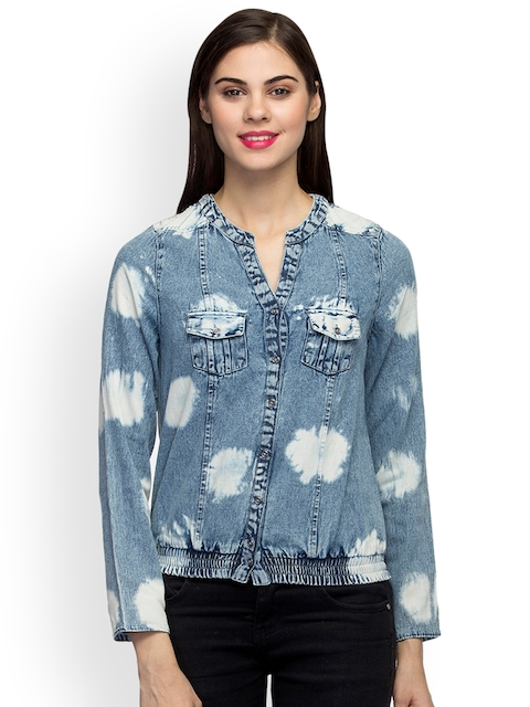 Oxolloxo Women Blue Solid Denim Bomber
