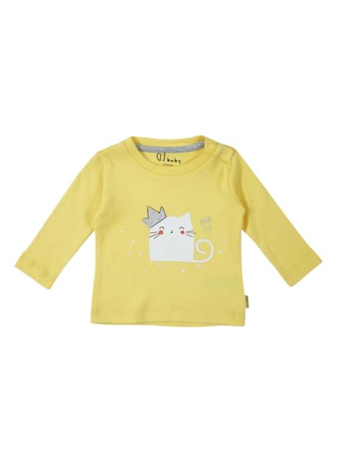 Gini and Jony Girls Yellow Printed Top