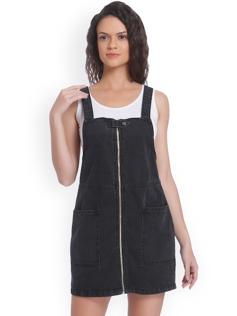 ONLY Women Black Solid Pinafore Dress