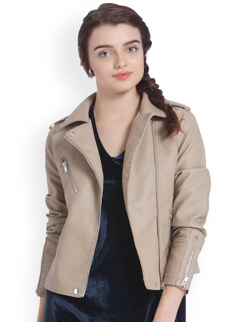 Vero Moda Women Beige Solid Biker Jacket