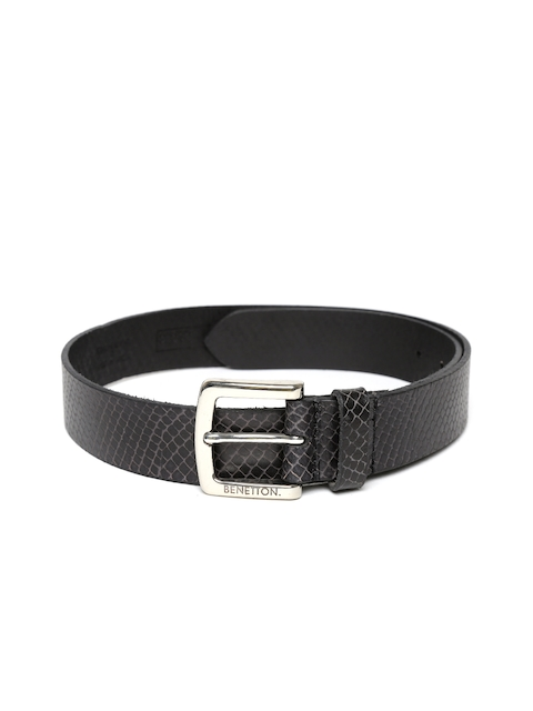 United Colors of Benetton Men Black Textured Leather Belt