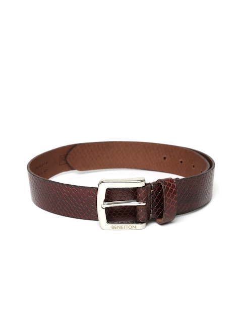 United Colors of Benetton Men Coffee Brown Textured Leather Belt