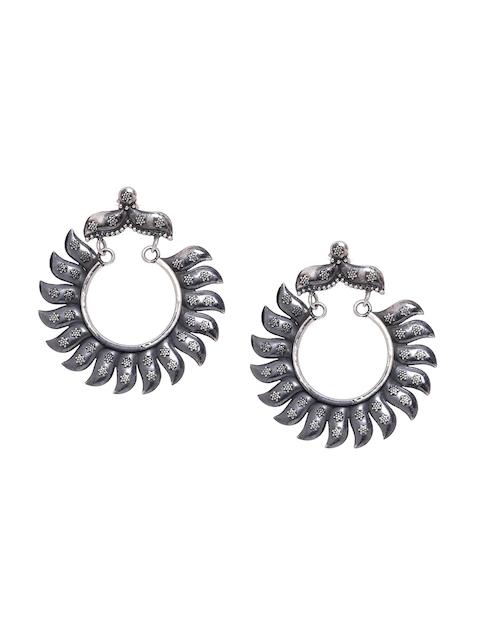 ADORN by Nikita Ladiwala Silver-Toned Geometric Hoop Earrings