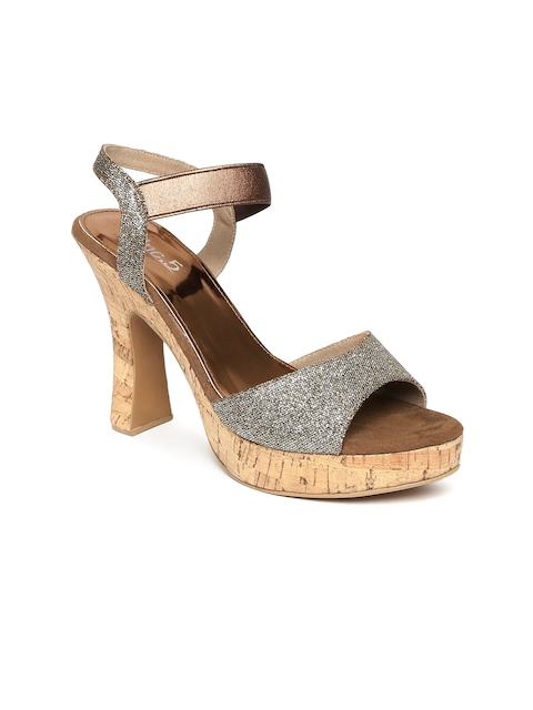 Inc 5 Women Bronze-Toned Shimmer Platforms