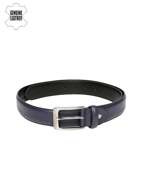 INVICTUS Men Navy Blue Textured Genuine Leather Belt