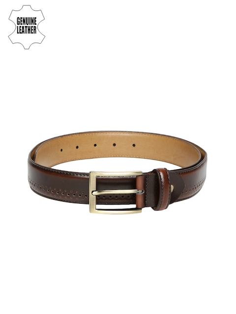 INVICTUS Men Brown Textured Genuine Leather Belt