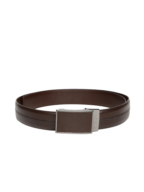 INVICTUS Men Brown Reversible Leather Textured Belt
