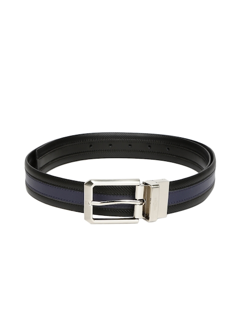 INVICTUS Men Blue & Black Textured Leather Belt