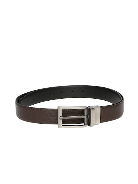 INVICTUS Men Brown & Black Textured Leather Belt
