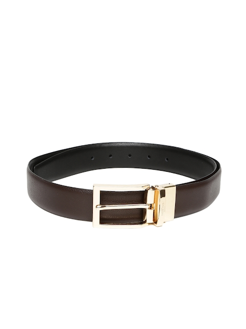 INVICTUS Men Brown & Black Leather Belt