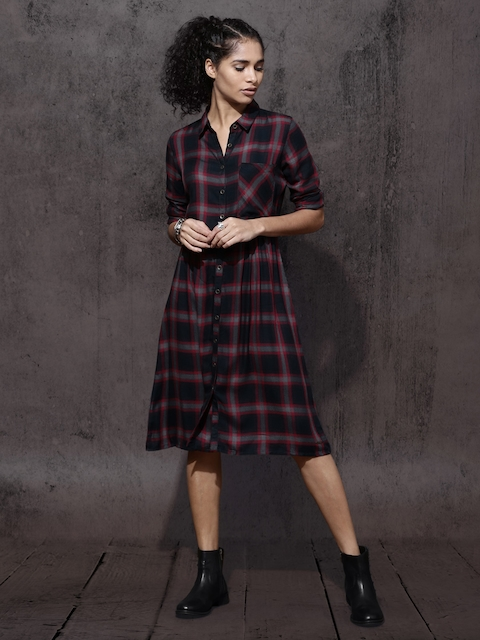 Roadster Women Black & Red Checked Shirt Dress