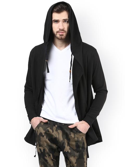 PUNK Men Black Solid Hooded Sweatshirt