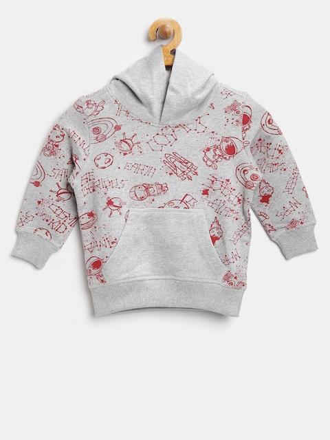 United Colors of Benetton Boys Grey Melange Printed Sweatshirt