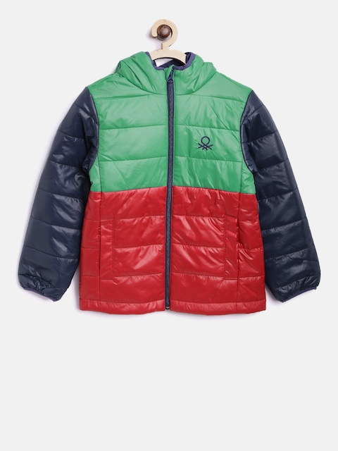 United Colors of Benetton Boys Green & Red Colourblocked Hooded Padded Jacket