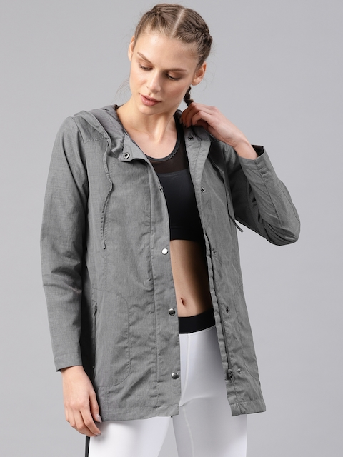 HRX by Hrithik Roshan Women Grey Solid Sporty Jacket