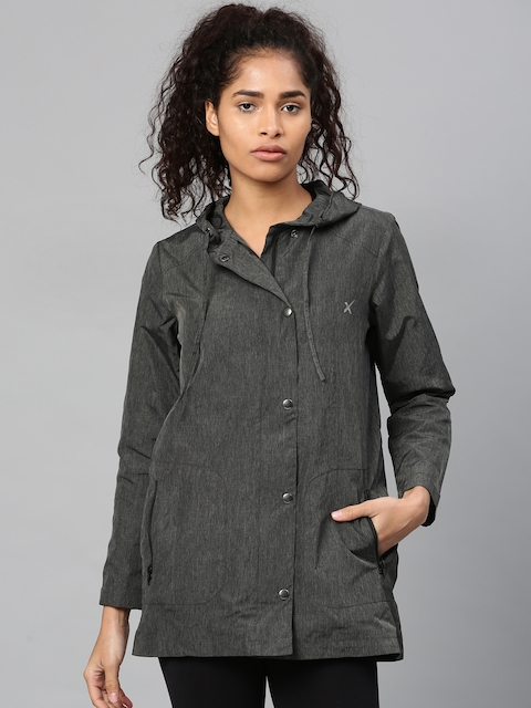 HRX by Hrithik Roshan Women Charcoal Grey Solid Hooded Sporty Jacket