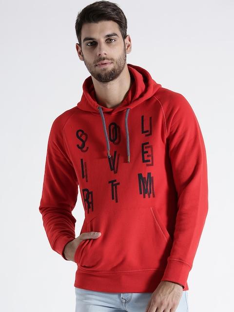 s.Oliver Men Red Printed Hooded Sweatshirt