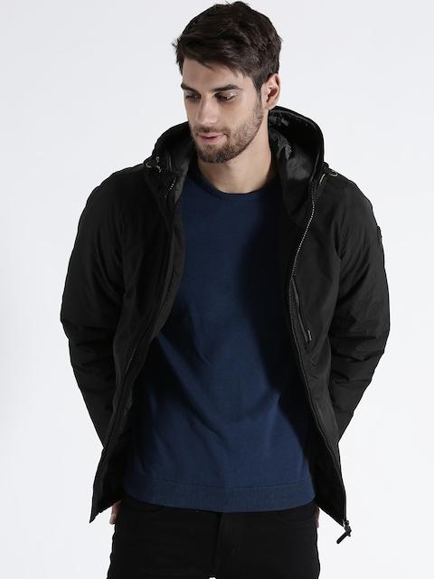 s.Oliver Men Black Solid Insulator Hooded Padded Jacket