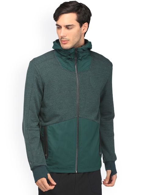 Puma Men Green Solid Tailored Jacket