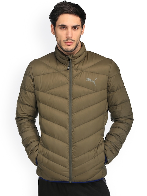 Puma Men Olive Green Solid Lightweight Padded Jacket