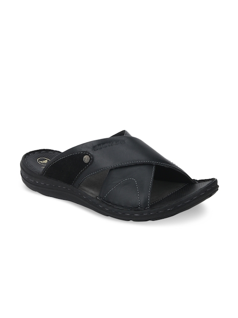 Red Tape Men Black Leather Sandals