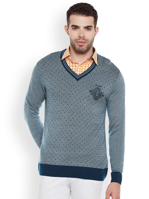 Duke Men Blue Self Design Pullover