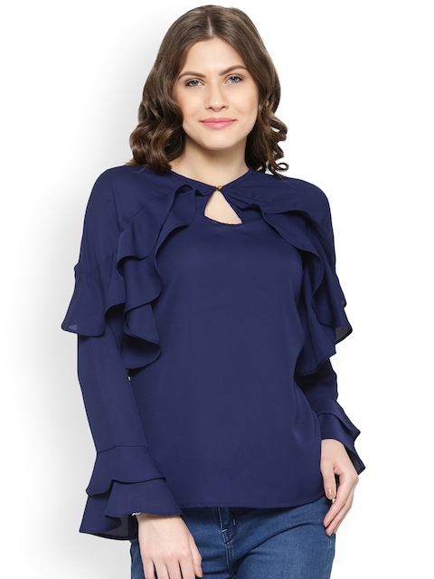 plusS Women Navy Blue Ruffle Top