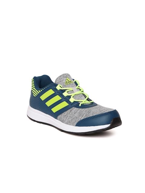 Adidas Boys Grey Melange & Teal Blue Kooger Running Shoes