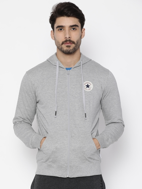 Converse Men Grey Solid Hooded Sweatshirt