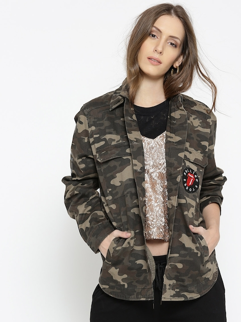 FOREVER 21 Women Olive Green Camouflage Tailored Jacket