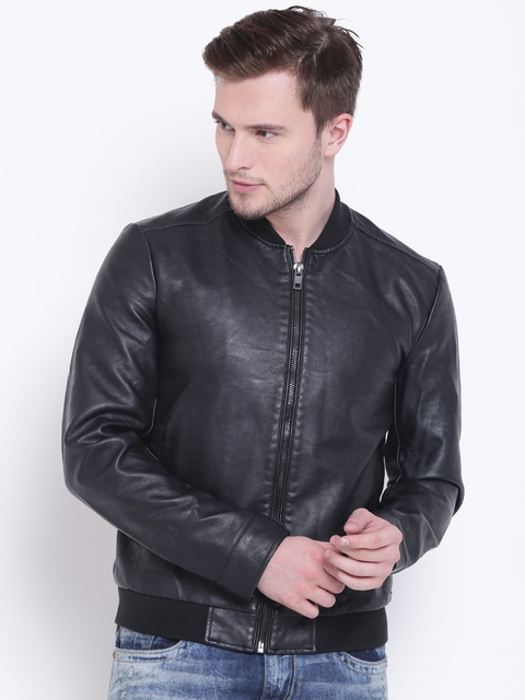 FOREVER 21 Men Black Solid Bomber Jacket