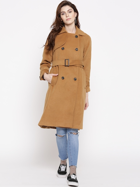 FOREVER 21 Brown Double-Breasted Longline Coat