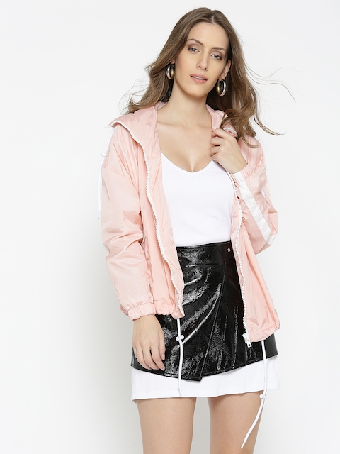FOREVER 21 Women Pink Solid Hooded Tailored Jacket