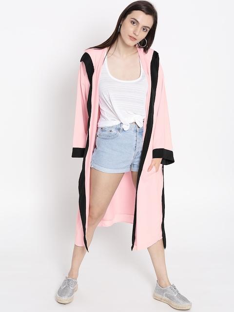 FOREVER 21 Women Pink Solid Open Front Longline Jacket