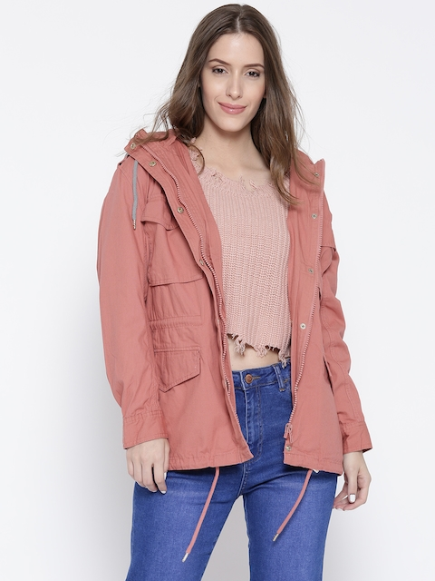 FOREVER 21 Women Pink Solid Tailored Jacket
