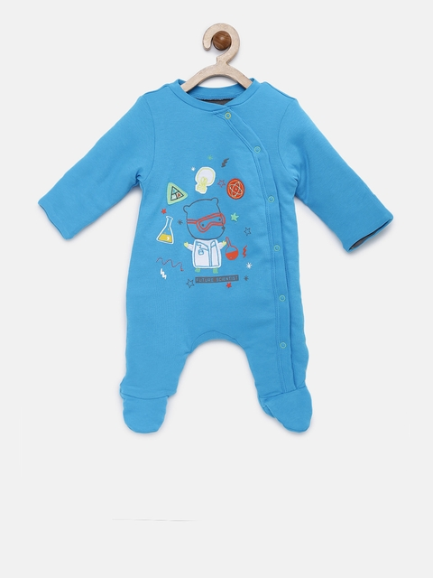 mothercare Boys Blue Printed Sleepsuit