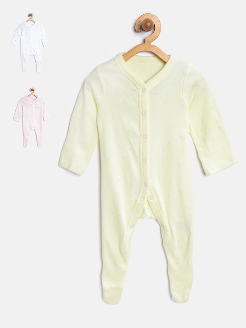 mothercare Girls Pack of 3 Printed Sleepsuits