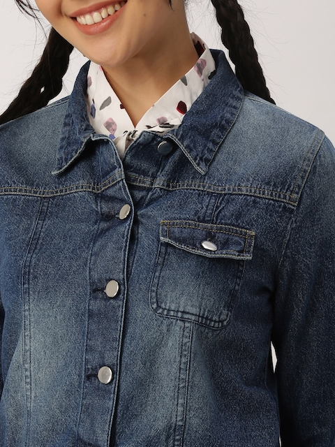 DressBerry Women Blue Solid Denim Jacket