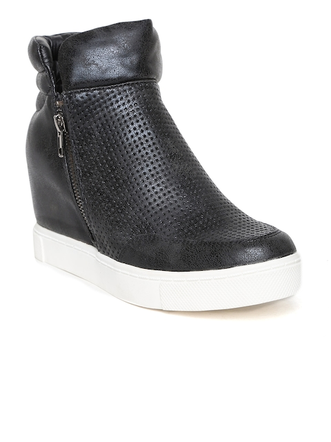 Steve Madden Women Black Perforated Heeled Boots  available at myntra for Rs.5849