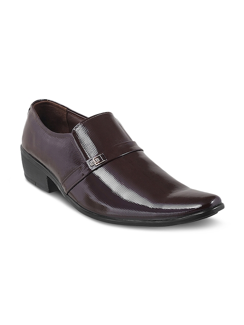 Metro Men Purple Leather  Semiformal Shoes